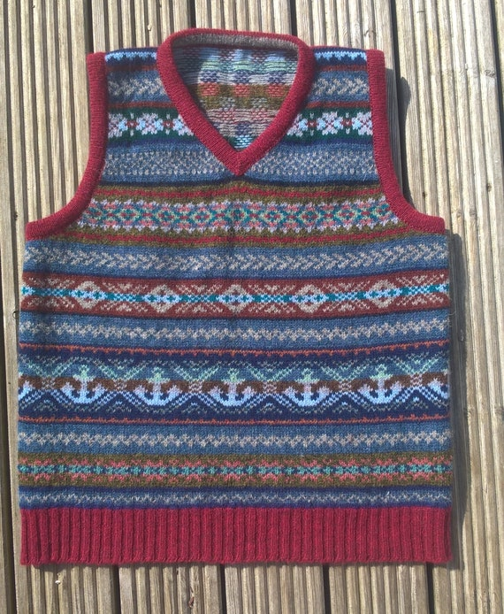 fair pullover made Shetland Unisex Made isle made in real shetland vest Shetland from wool Hand xXFtwHdt