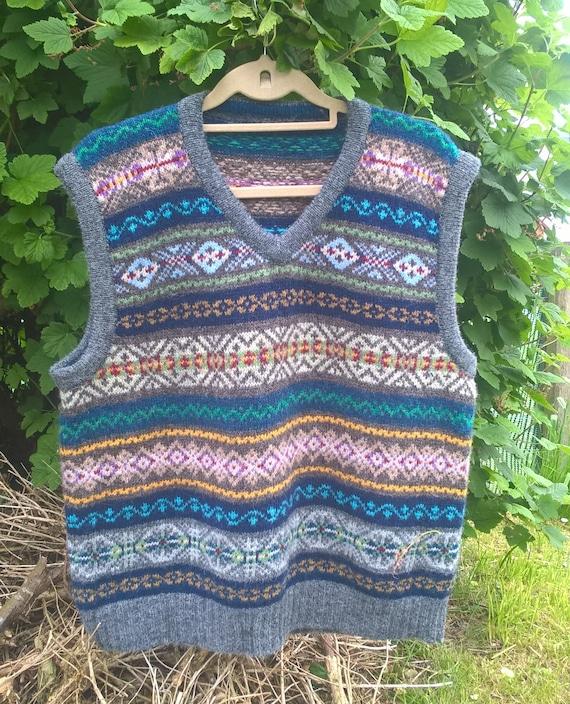 Shetland vest real Fair Unisex wool Shetland made from handmade Shetland isle in motif vest 8v1qF