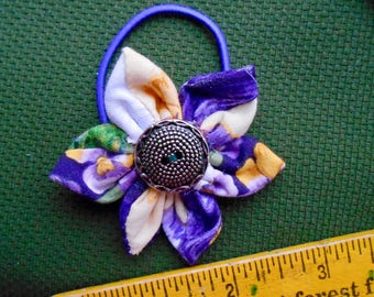 Hair Tie, Vintage Materials: Purple, White, Green, Yellow,  Print Fabric with a Silver Tone Button