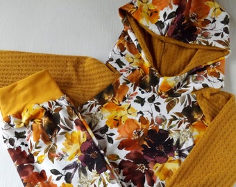 Fall floral 6-9M hoodie set, girl hoodie and harem pants, mustard floral