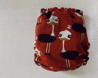 Ostrich AI2 cloth diaper, one size all in two diaper, hidden pul