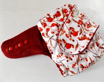 Red berries AI2 fitted diaper, all in two one size diaper, holiday diaper