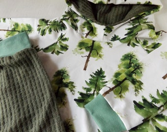 Pine trees 3-6M hoodie set, matching harem pants, woodland baby outfit
