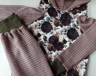 Plum floral 6-9M hoodie set, infant hoodie outfit, fall floral