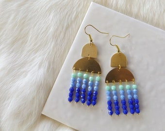 Blue bead chandelier earrings, brass half circle earring, statement earrings
