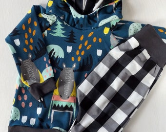 Moose and plaid 3-6M hoodie set, woodland baby outfit, black plaid