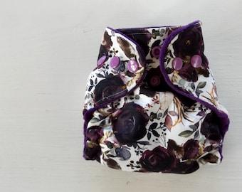 Plum fall floral newborn AI2 diaper, newborn cloth diaper, hidden pul