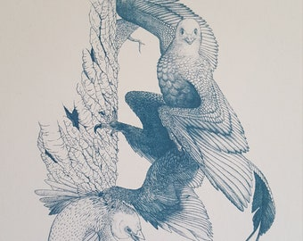"""Original dinosaur illustration """"Climbing Talons"""""""