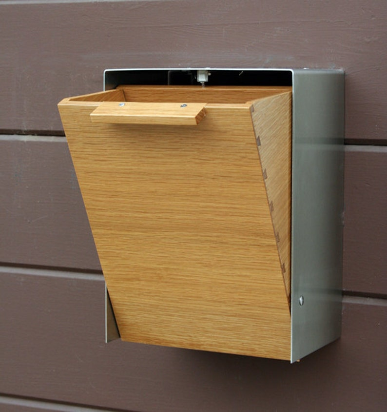 Wall Mounted mailbox White Oak Mailbox Narrow Size Modern Mailbox