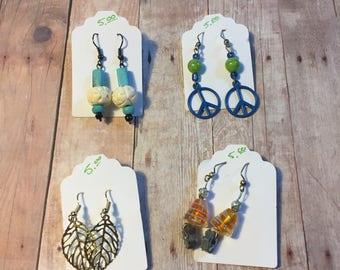 Homemade bead dangle earrings 5 dollars each