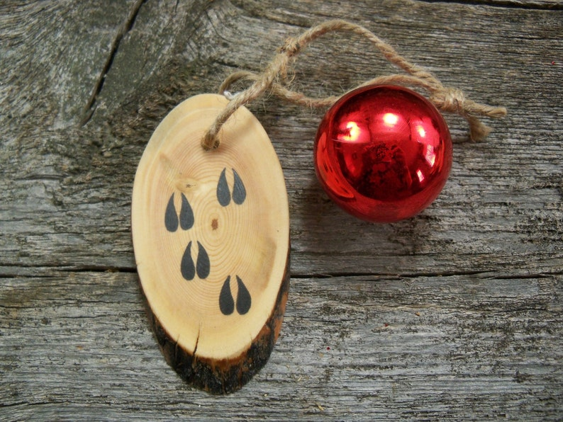 Wooden Christmas Tree Ornament With Deer Tracks Rustic Tree Etsy