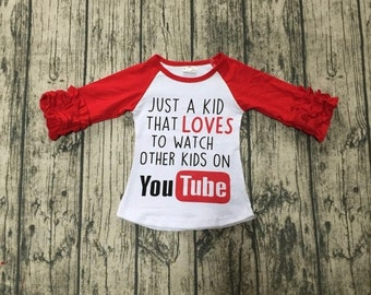 """57463e5f6 YouTube toddler shirt """"Just a kid who loves to watch other kids on YOUTUBE""""  graphic tee t-shirt top baseball style raglan funny graphic 2t"""