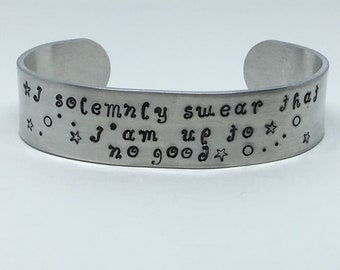 """Marauder's Map """"I solemnly swear that I am up to no good"""" hand-stamped cuff bracelet"""