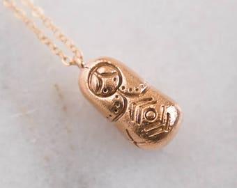 Matryoshka Doll Necklace    Russian Doll Necklace    Bronze