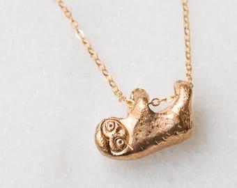 Sloth Necklace Brass Bronze