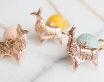 Alpaca Necklace Llama Necklace Long Chain Brass Bronze