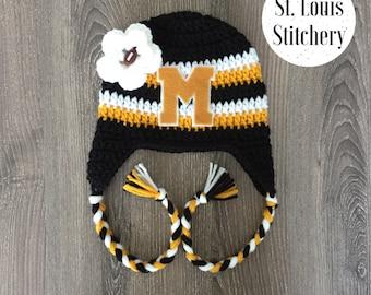 Mizzou Inspired Girls Flower Earflap Hat / Block M Hat / Crochet Football Hat / Sizes Newborn - 5 Years **MADE TO ORDER**