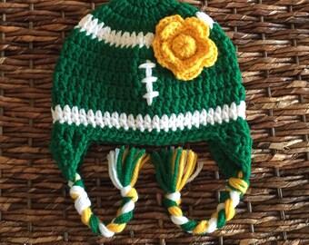 Greenbay Packers Inspired Girls Flower Earflap Beanie / Oregon Ducks Inspired Hat / Photo Prop / Size Newborn-5 Years **MADE TO ORDER**