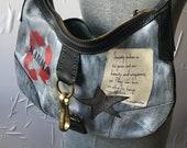 Upcycled Coach Purse Handbag Pocketbook Karma No Dogma Non Conformist Black Gray Leather One of a Kind