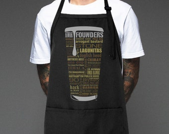2e236a4dab Customizable Craft Beer Typography Father's Day Apron. One of a kind. Gift  the Grillmaster Pitmaster in your life