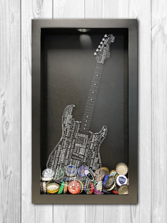 Guitar Craft Beer Typography Shadow Box Mens Gift Ideas Etsy