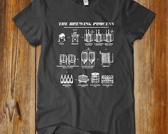 BEER BREWING Process. IPA Fan. Hoppy Shirt. Craft Beer Shirt. Beer Shirt. One of a kind. Drink local beer. Homebrewer. brewer shirt