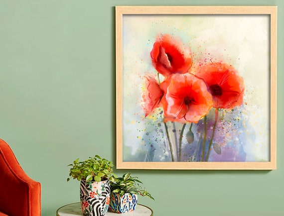 Beautiful Poppy Flowers Bascket Print Home Decor Wall Art choose your size