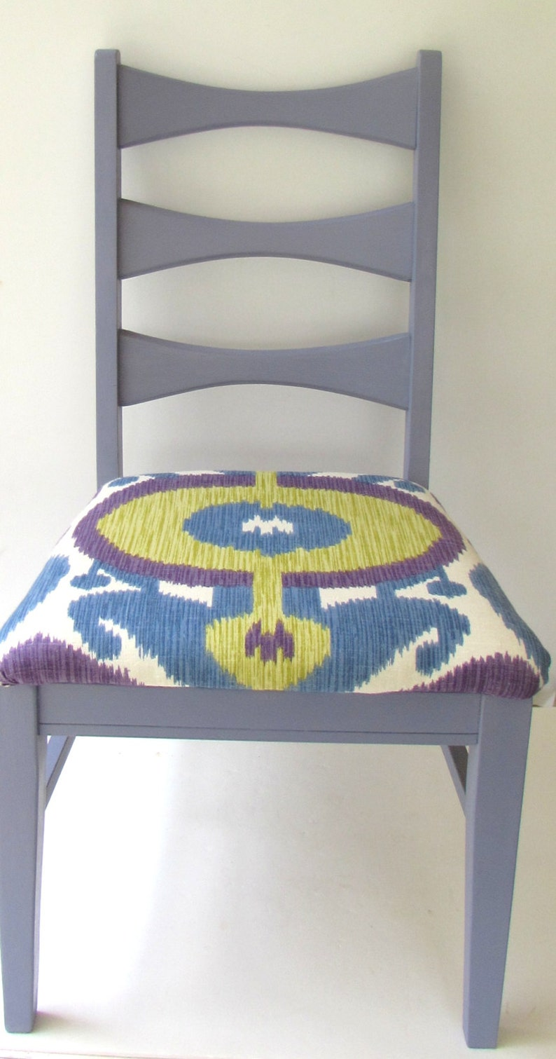 Astonishing Painted Wooden Chair Refurbished Mid Century Modern Ladder Back Chair Purple Painted Wood Chair Fun Colorful Ikat Seat Cover Purple Home Interior And Landscaping Oversignezvosmurscom