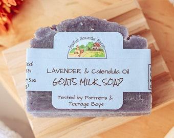 Handmade Lavender Calendula Oil Goats Milk Soap, Artisan Soap, Essential Oil