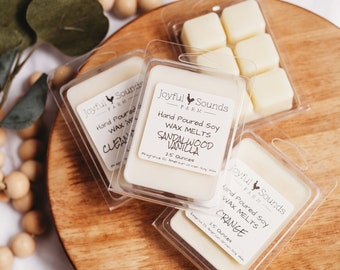 All natural Soy Wax Melts, 2.5 ounce clam shell, essential oil scents