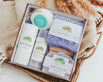 Lavender Scented Spa Gift Set, Goat's Milk Soap, Body Powder, Homeschool Mom Survival Kit, Birthday Gift, Appreciation or Sympathy Gift