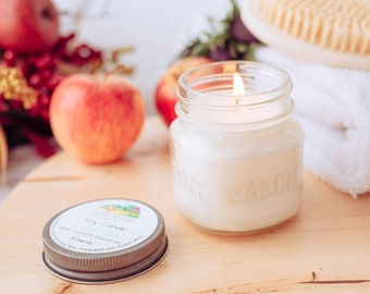 All natural Soy Candles, square glass mason jar, 4 ounce or 8 ounce, essential oil scents