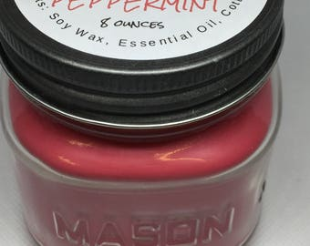 All natural Soy Candles, 8 ounce square glass mason jar, Peppermint Essential Oil