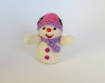 Handmade Needle Felted Snowman Made-to-Order, Valentine 's Day and Christmas Snowman, Dollhouse Snowman, Short hat pink