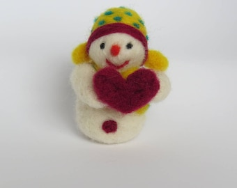 Handmade Needle Felted Snowman Made-to-Order, Valentines and Christmas ornament proposal, party favor, handmade gift, yellow traper hat