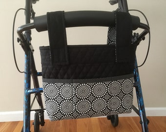 Rollator Walker Bag Black and White Pinwheel Chevron For A Classy Look!