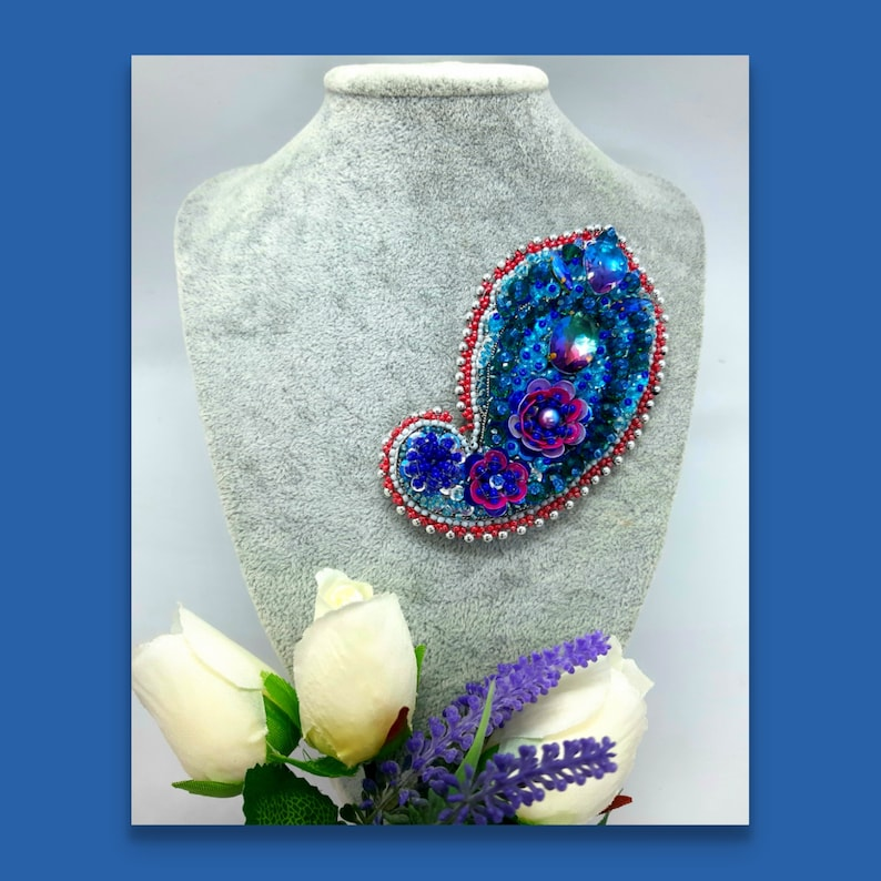 Blue brooch Brooch Paisley Embroidered Bead embroidered