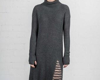 Wool dress / Merino wool dress/ Merino wool/ Sweater dress/ Merino wool tunic/ Grey sweater dress/ Ripped dress/ Ripped sweater dress