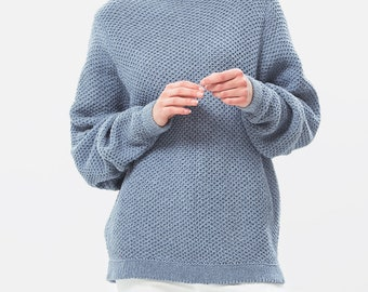 3abbf7fae95f Recycled denim sweater   Eco cotton sweater   Oversize sweater   Oversized  pullover   Sustainable clothing   Nove denim jumper