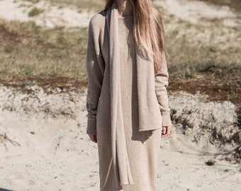 Cashmere dress / Sweater dress / Knit dress / Wool dress / Casual dress / Cosy dress / Grey dress / Beige dress