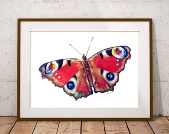 Butterfly Illustration Print Realistic watercolor painting Fine art Vibrant colors Nature Wildlife Spring Summer Home decor Gift