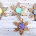 Wood Wall Art,Set of 3 Wood Flowers, Reclaimed Wood Art, Rustic Wooden Flowers for Farmhouse or Country Decor, Country Housewarming Gift