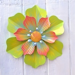 Outdoor Decor, Outdoor Metal Flower, Metal Outdoor Wall Art, Boho Decor, Recycled Garden Art, Outdoor Yard Art for Patio or Porch