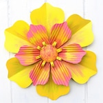 Outdoor Decor, Metal Flower, Pink and Yellow Metal Wall Art, Boho Decor, Metal Decor for Patio or She Shed, Metal Flowers for Porch