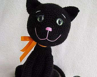 Amigurumi Black Cat Kitten Animal Toy Doll Halloween PDF Crochet Pattern