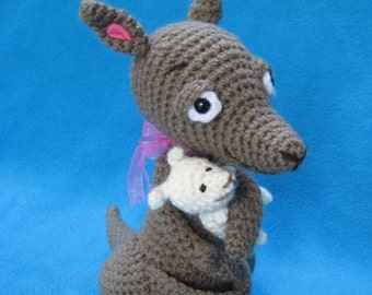 Amigurumi Kangaroo Mom And Baby Animal Toy Doll Crochet Pattern PDF