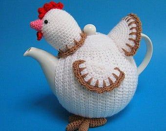 Chicken Tea Cosy PDF Crochet Pattern Easter Decor Spring Teapot Cover Animal Bird