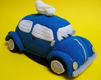 VW Beetle Tissue Holder Pdf CROCHET PATTERN Volkswagen Tissue Box Cover Classic Bug Amigurumi