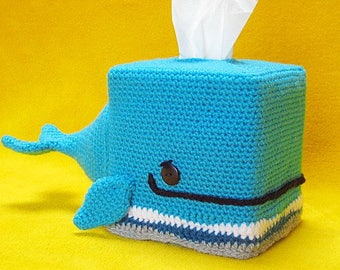 Whale tissue box cover cozy animal amigurumi crochet pattern pdf