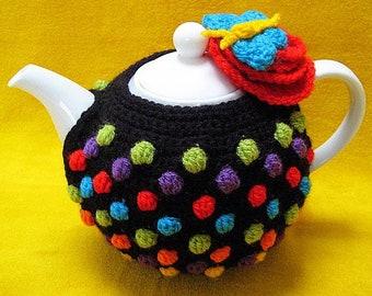 Tea Cosy Polka Dots Flower Multi Colour Crochet PATTERN PDF Teacosy